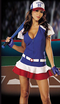 I was a believer in her fantasy baseball ability until I saw the blue bat.