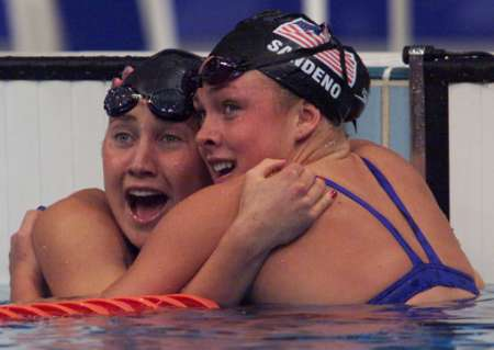 olympics swimmers hug hyman Oral sex tips for women