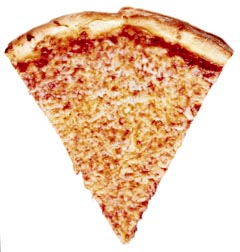Pizza dipped in red chili pepper sauce covered in nearly boiling    Isosceles Triangle Pizza
